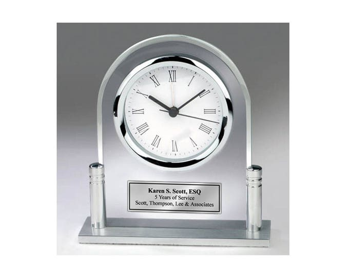 Personalized Desk Clock Acrylic Arch Metal Silver Post and Silver Engraved Plate. Anniversary Retirement Birthday Service Award Gift Boss