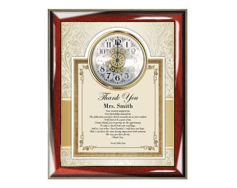 Thank You Educator Teacher Frame Poetry Clock Frame Personalized Mentor Coach Appreciation Education Present Poem