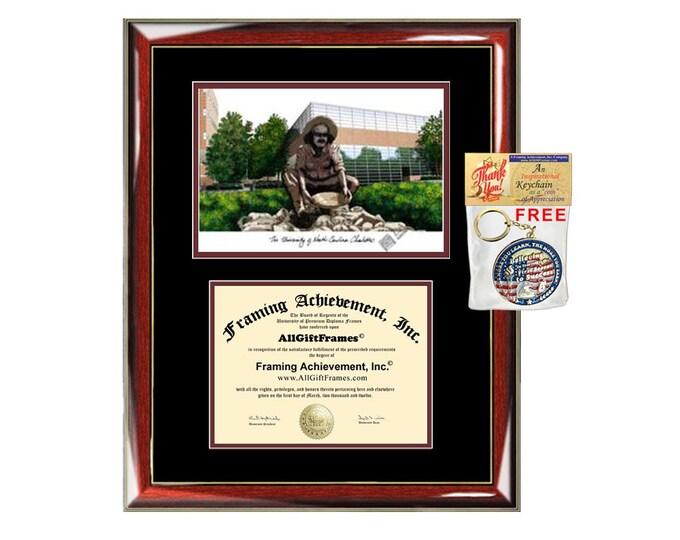 UNCC diploma frames lithograph University of North Carolina Charlotte frame campus sketch framing graduation degree gift college plaque grad