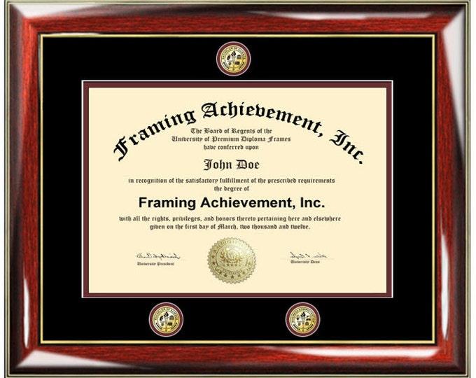 University diploma frames college degree triple medallion seal logo graduation plaque certificate framing plaque
