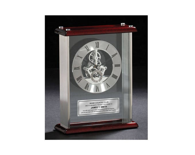 Personalized Desk Clock Da Vinci Gear Encased Glass Chrome with Wood Cherry Top and Base. Engraved Clock Wedding Gift Award Retirement