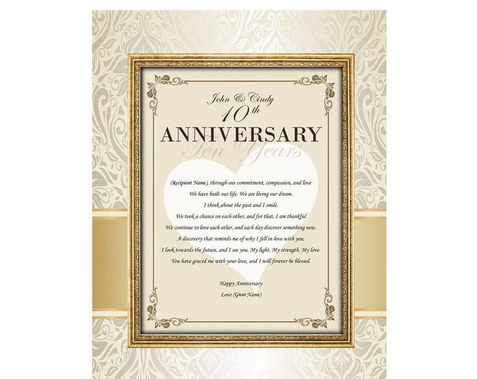 Happy Anniversary Personalized 11x14 Unframed Matted Design Love Print with Loving Poem to Wife, Husband, Girlfriend or Boyfriend