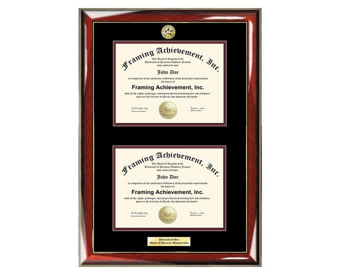 Graduation Dual Degree Diploma Frame Engraved University Major Logo Glossy Prestige Mahogany Gold Accents Top mat Black Inner matted Maroon