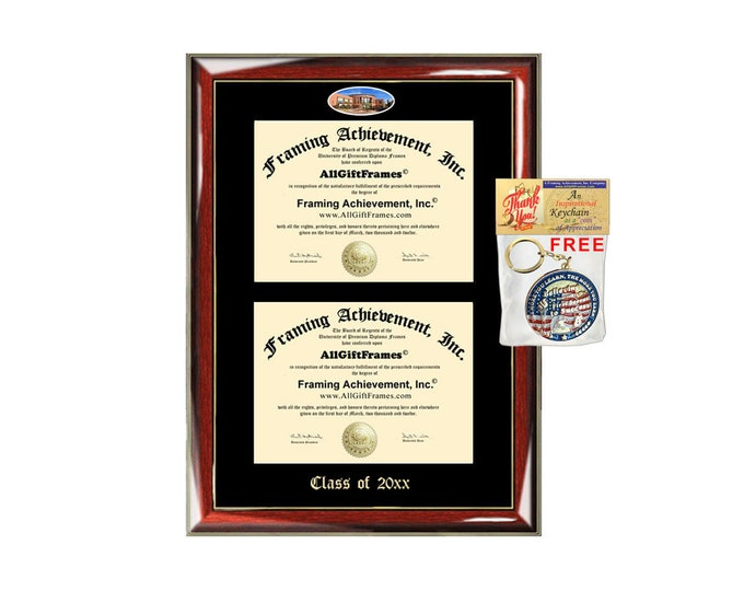 Virginia Commonwealth University Double Diploma Display Frame VCU Campus Fisheye Photo Two School Major Certificate Emboss Case Frame Holder