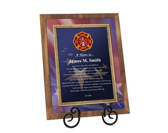 Firefighter Gift Fireman Poem Walnut Plaque Fire Fighter Present Poetry with Easel Retirement Promotion Birthday