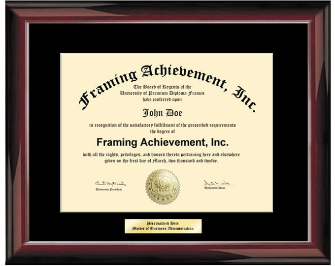 University Graduation Diploma Frames Single Black Mat - Glossy Traditional Mahogany - College Diploma Framing Certificate Frames Engraving