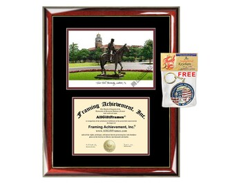 Texas Tech diploma frames TTU lithograph frame campus sketch framing Texas Tech University graduation degree gift college plaque certificate