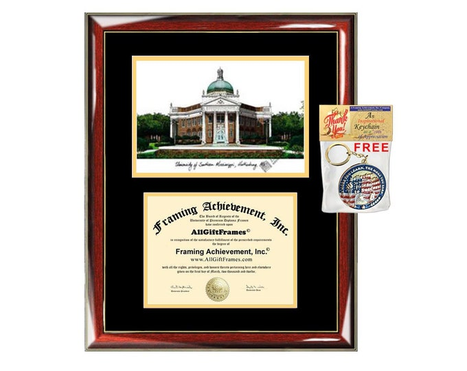 University of Southern Mississippi diploma frames lithograph USM frame campus image sketch certificate framing graduation degree graduate