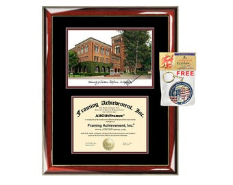 USC diploma frames lithograph University of Southern California frame campus image sketch certificate framing graduation degree gift college