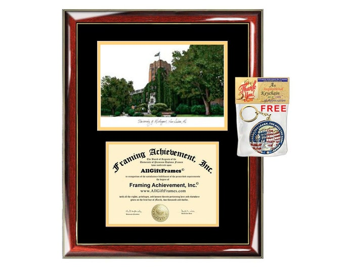University of Michigan diploma frames Michigan lithograph frame sketch certificate framing graduation degree gift college plaque graduate