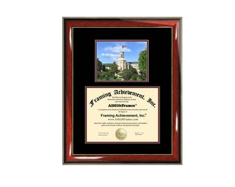 Wheaton College Illinois diploma frame campus photo certificate framing graduation document plaque degree gift college graduate picture