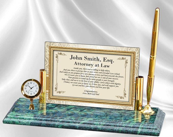 Personalized Law School Graduation Gift Poetry Mini Clock Marble Pen New Lawyer Attorney Present Graduate Passing Bar Gift Congratulation