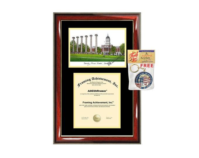 University of Missouri Columbia diploma frames lithograph Missouri Columbia frame campus image sketch certificate framing graduation degree