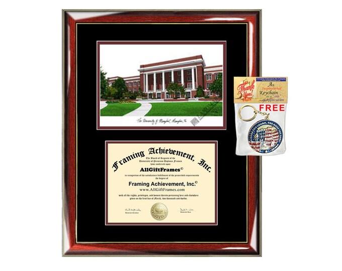 University of Memphis diploma frames lithograph frame campus image sketch framing Texas Tech University graduation degree gift plaque grad