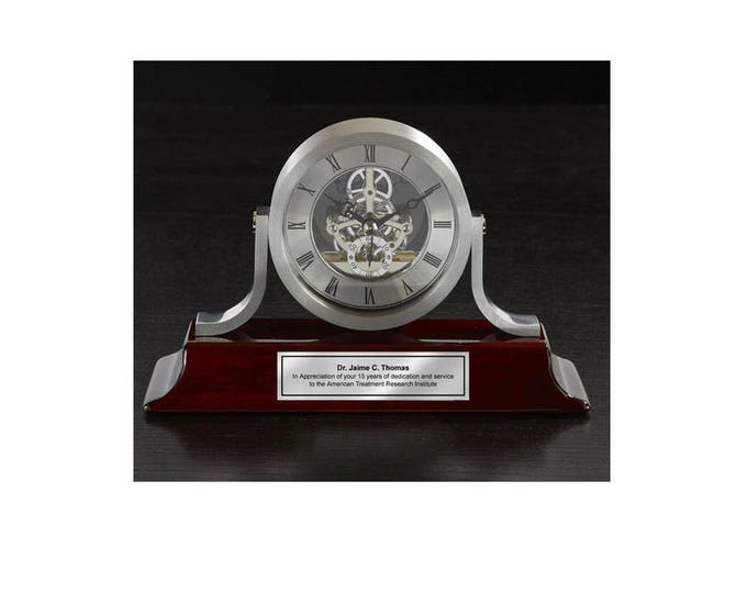 Personalized Brush Silver Mantle Engraved Clock Da Vinci Dial with Silver Engraving Plate executive retirement anniversary birthday