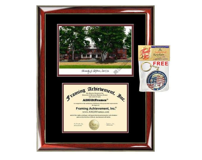 University of California Davis diploma frames campus sketch UCD lithograph frame certificate framing graduation degree gift college plaque