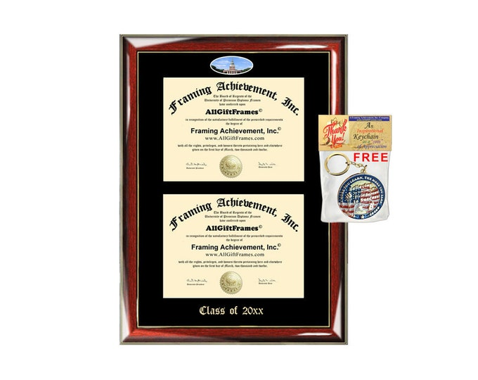 Wake Forest University Double Diploma Display Frame WFU Campus Fisheye Photo Two School Major Certificate Emboss Case College Frame Holder