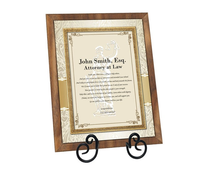 Personalized Law Gifts for Attorney Lawyer Graduation Law School Poetry Plaque Present