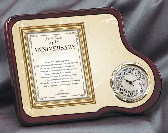 Wedding Anniversary Parents Mahogany Poetry Floral Design Clock Personalized Mom Dad Present Gift Congratulation Best Wishes