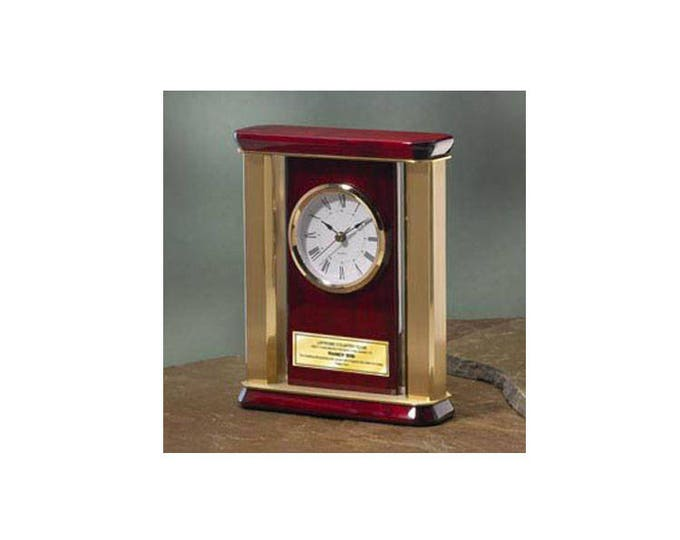 Personalized Desk Clock with Gold Brass Columns Engraving Plate. anniversary gift recognition employee service award retirement birthday