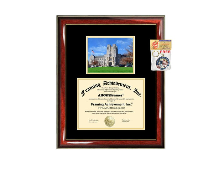 Virginia Tech diploma frame campus photo certificate framing graduation Virginia Polytechnic Institute State University degree plaque