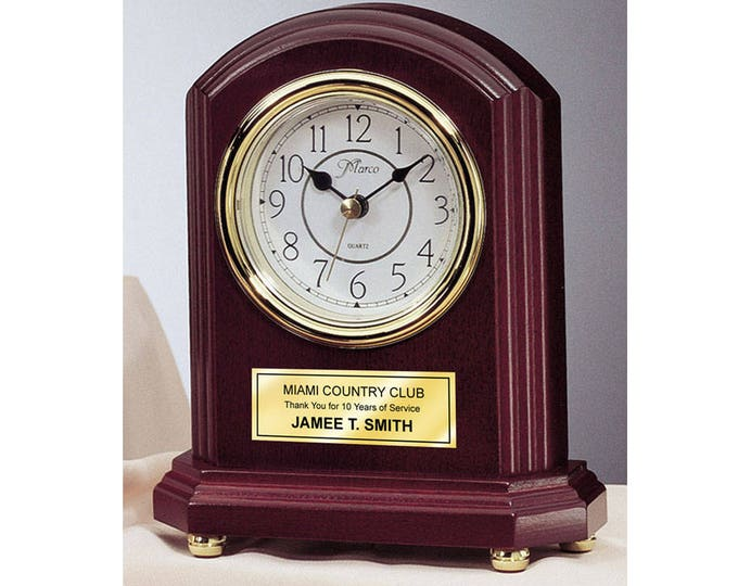 Archway Engraved Desk Clock with Personalized Gold Engraving Plate as Birthday Retirement Wedding Anniversary Graduation Service Award