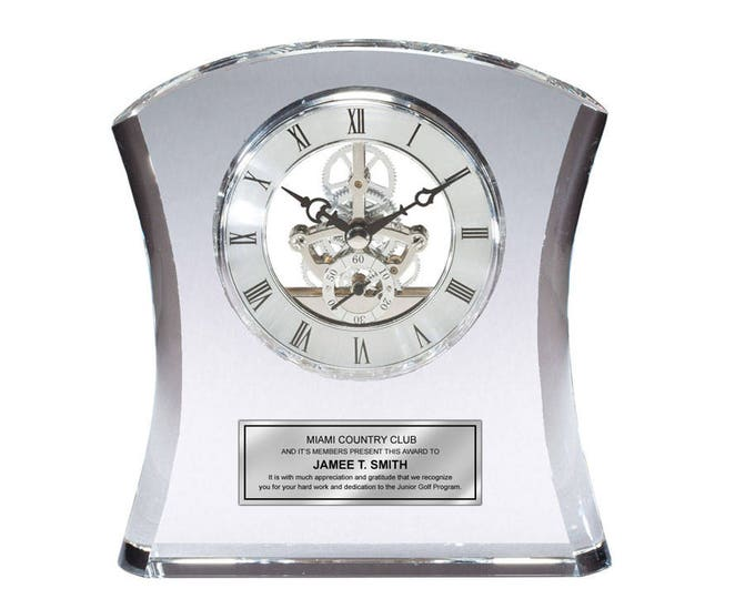 Engraved Clock Crystal Curve Retirement Desk Award Recognition Sleek Table Shelf Clock with Da Vinci Dial and Silver Engraving Plate Wedding