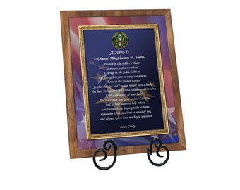 Army Military Gift Walnut Plaque for Retirement or Recognition Soldier Hero Plaque Veteran Gift Birthday Going Away Homecoming Present