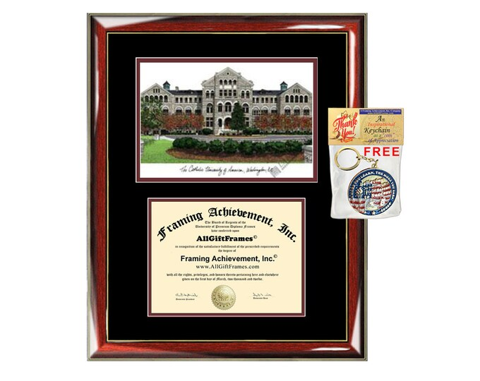 Catholic University of America diploma frame lithograph campus image CUA certificate degree frames framing gift graduation plaque college