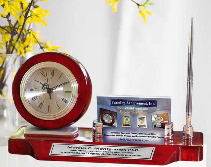 Engrave Desk Clock Business Card Holder Case Display Silver Pen Wood Desktop Stand Graduation Gift Promotion Employee Award Desk Name Plate