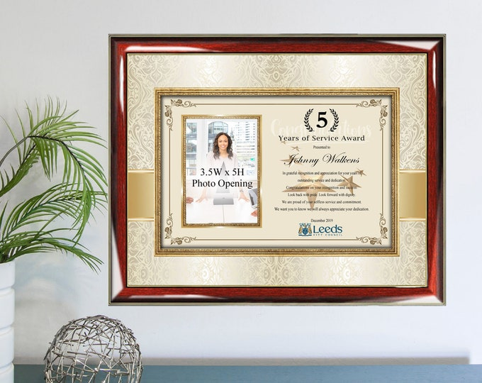 Employee Years of Service Picture Frame Award Employee of Month Photo Plaque Recognition Appreciation Photograph Wall Coworker Gift