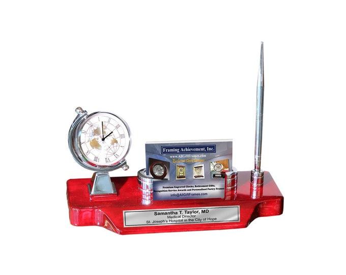 Spinning Globe Silver Desk Clock Corporate Logo Business Card Holder Case Pen Engraved Name Plate Promotion Graduation Gift Service Award