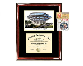 UCSD diploma frames campus sketch University of California San Diego lithograph frame certificate framing graduation degree gift college