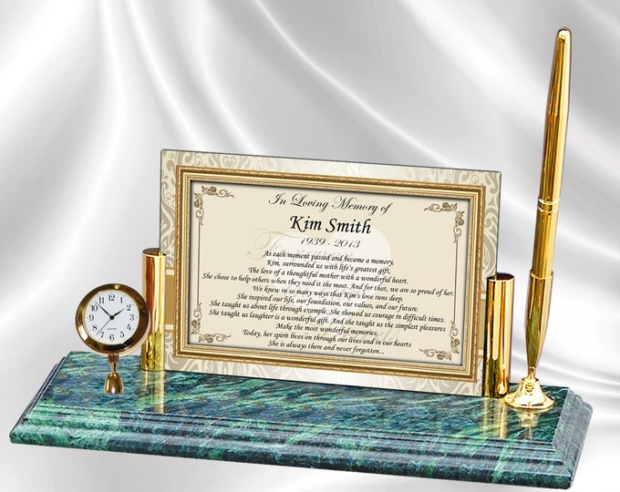 Sympathy Personalized Comforting Poem Remembrance Poetry Mini Clock Marble Pen Memorial Clock Condolences Plaque