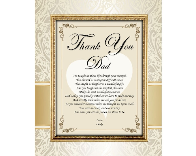 11x14 Unframed Father Day Birthday Wedding Thank You Dad Poetry Printed Mat Personalized Present Poem Bride Daughter