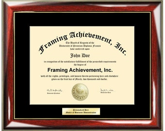 Diploma Frames with Engrave Plate Black Mat Personalized Glossy Prestige College Graduation University Frames Diploma Framing