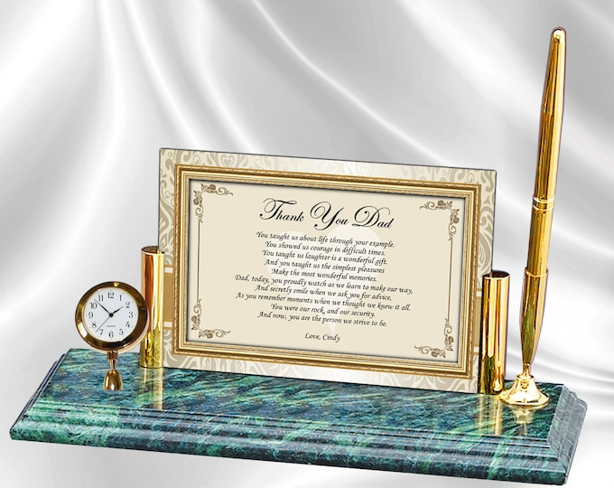 Personalized Father Gift Poetry Mini Clock Marble Pen Fathers Day Birthday Wedding Thank You Appreciation Poem Son Bride Groom