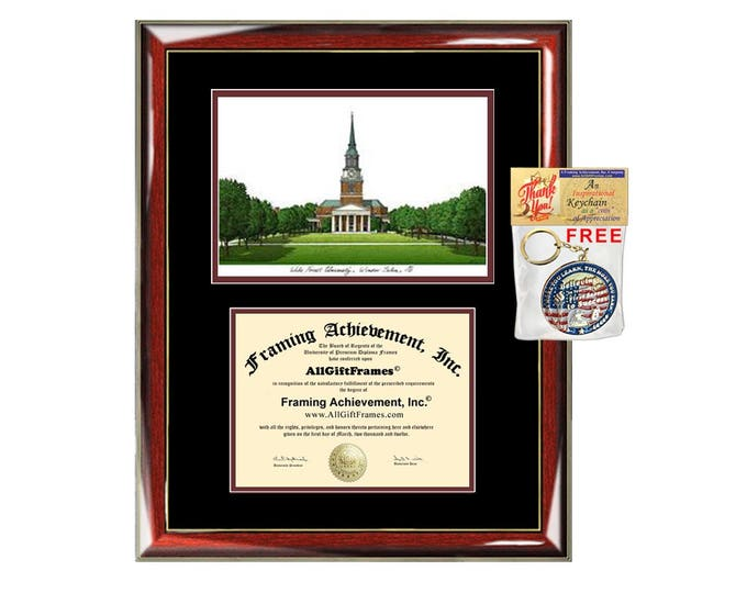 Wake Forest University diploma frames lithograph WFU frame campus sketch framing graduation degree graduate gift college plaque certificate