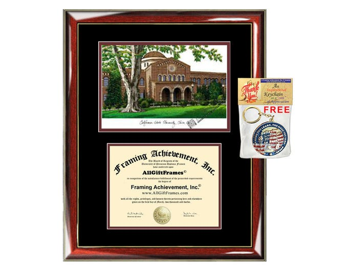 Chico State diploma frames lithograph campus sketch California State University Chico frame certificate framing graduation degree Cal State