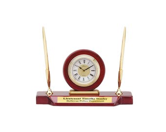 Engraved Double Pen Set Clock Cherry Wood Base Personalized Retirement Executive Graduation Coworker Boss Service Award Recognition Award