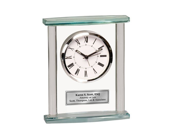 Glass Desk Clock Engraved Personalized Retirement Gift Anniversary Birthday Wedding Recognition Service Award Boss Coworker Retiree