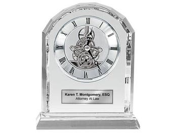 Diamond Cut Arch Crystal Engraved Clock with Silver Engraving Plate Da Vinci Dial. Anniversary Wedding Gift Retirement Service Award