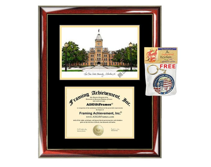 OSU diploma frames lithograph Ohio State University degree frame campus image certificate framing graduation gift college plaque graduate