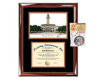 University of Texas Austin diploma frames UT Austin lithograph frame campus sketch framing University frames graduation degree gift college
