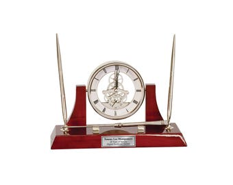 Engraved Clock Dual Pen Set Da Vinci Dial, Silver Letter Opening and Engraving Plate Unique Retirement Gift Executive Boss Service Award