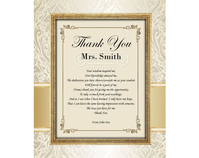 Thank You Teacher Educator Mentor Professor Gift Poem Personalized Poetry Unframed 11x14 Mat From Student Graduate