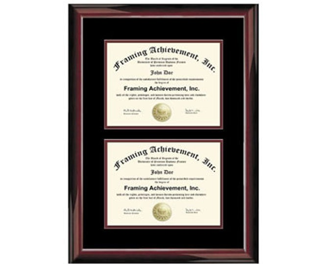 College Dual Diploma Frame Two Degree Double Certificate Plaque Glossy Traditional Mahogany Top mat Black Inner matted Maroon University