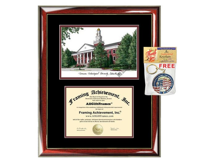 Tennessee Technological University diploma frames lithograph TTU frame campus image sketch certificate framing graduation degree case gift