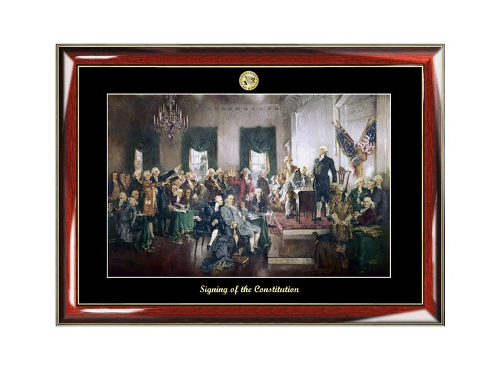 Signing of the Constitution Mural Painting Poster Frame Christy Print Embossed Logo Attorney Lawyer Law School Graduation Gift Citizenship