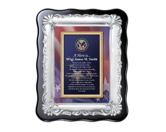 Personalized Military Plaque Gift Retirement Service Poetry Frame Going Away Homecoming Army Marine Corps Air Force US Navy USMC USAF